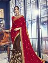image of Brown Georgette Function Wear Saree With Embellished Blouse