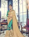 image of Sky Blue Wedding Wear Fancy Saree In Georgette And Art Silk With Embellished Blouse