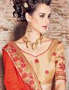 photo of Chiffon Embellished Fancy Saree with Lace Border in Orange