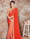 image of Chiffon Embellished Fancy Saree with Lace Border in Orange