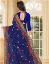 photo of Embroidery Work On Navy Blue Designer Saree In Georgette Fabric