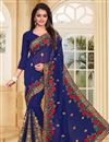 image of Embroidery Work On Navy Blue Designer Saree In Georgette Fabric