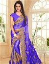 image of Designer Saree In Light Purple Satin And Chiffon With Embroidery Designs