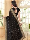 photo of Embroidery Work On Black Georgette Party Wear Saree