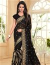 image of Embroidery Work On Black Georgette Party Wear Saree