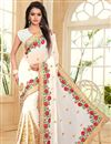 image of Off White Embroidered Ethnic Wear Georgette Saree