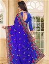 photo of Embroidery Work On Georgette Designer Saree In Blue
