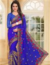 image of Embroidery Work On Georgette Designer Saree In Blue