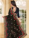 photo of Black Party Wear Embroidered Saree In Georgette