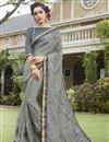 image of Occasion Wear Saree In Fancy Fabric Grey With Embroidery Work And Charming Blouse