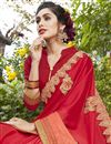 photo of Red Fancy Fabric Embroidered Sangeet Wear Saree With Party Wear Blouse