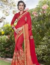 image of Red Fancy Fabric Embroidered Sangeet Wear Saree With Party Wear Blouse