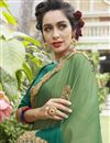 photo of Green Fancy Fabric Embroidered Occasion Wear Saree With Artistic Blouse