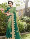 image of Green Fancy Fabric Embroidered Occasion Wear Saree With Artistic Blouse