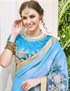 photo of Fancy Sky Blue Wedding Wear Embroidered Saree With Gorgeous Blouse