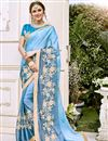 image of Fancy Sky Blue Wedding Wear Embroidered Saree With Gorgeous Blouse
