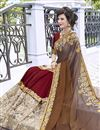 photo of Maroon Stone Work Embroidered Georgette Wedding Wear Fancy Saree