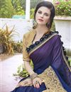photo of Wedding Special Blue Stone Work Embroidered Wedding Wear Fancy Saree In Georgette And Satin