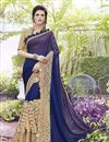 image of Wedding Special Blue Stone Work Embroidered Wedding Wear Fancy Saree In Georgette And Satin