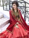 photo of Peach Stone Work Embroidered Wedding Wear Fancy Saree In Georgette