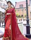 image of Peach Stone Work Embroidered Wedding Wear Fancy Saree In Georgette