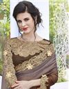photo of Fancy Stone Work Embroidered Georgette And Satin Brown Designer Saree