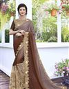 image of Georgette And Satin Stone Work Embroidered Function Wear Brown Saree