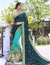 image of Wedding Special Fancy Stone Work Embroidered Georgette And Art Silk Teal Designer Saree