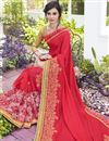 photo of Georgette Stone Work Embroidered Red Wedding Wear Fancy Saree