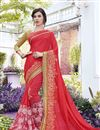 image of Georgette Stone Work Embroidered Red Wedding Wear Fancy Saree