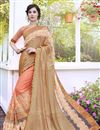 image of Wedding Special Georgette Stone Work Embroidered Peach Wedding Wear Fancy Saree