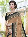 photo of Wedding Special Georgette Stone Work Embroidered Wedding Wear Fancy Saree In Dark Beige