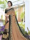 image of Wedding Special Georgette Stone Work Embroidered Wedding Wear Fancy Saree In Dark Beige