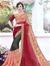 image of Georgette Stone Work Embroidered Wedding Wear Fancy Saree In Grey