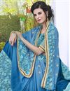 photo of Fancy Stone Work Embroidered Sky Blue Georgette And Satin Designer Saree