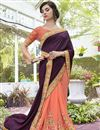 photo of Stone Work Embellished Peach And Wine Art Silk Wedding Wear Saree