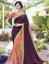 image of Stone Work Embellished Peach And Wine Art Silk Wedding Wear Saree