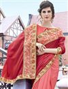 photo of Peach And Red Stone Work Embroidered Georgette Wedding Wear Fancy Saree