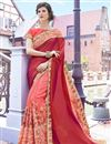 image of Wedding Special Peach And Red Stone Work Embroidered Georgette Wedding Wear Fancy Saree