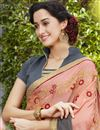 photo of Grey And Peach Georgette Designer Embroidered Fancy Saree