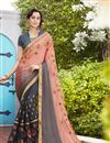 image of Grey And Peach Georgette Designer Embroidered Fancy Saree
