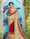 image of Red And Cream Designer Jacquard And Georgette Fancy Embroidered Saree