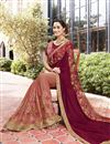 photo of Fancy Art Silk And Chiffon Embroidered Brown Designer Saree