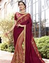 image of Fancy Art Silk And Chiffon Embroidered Brown Designer Saree