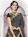 photo of Jacquard And Georgette Embroidered Black Designer Saree