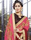 photo of Brown And Pink Georgette Designer Embroidered Fancy Saree
