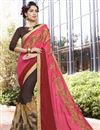 image of Brown And Pink Georgette Designer Embroidered Fancy Saree