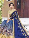 photo of Blue Embellished Georgette Designer Saree