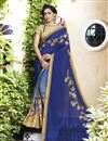 image of Blue Embellished Georgette Designer Saree