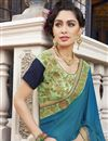 photo of Designer Jacquard And Georgette Fancy Embroidered Saree In Sea Green And Teal